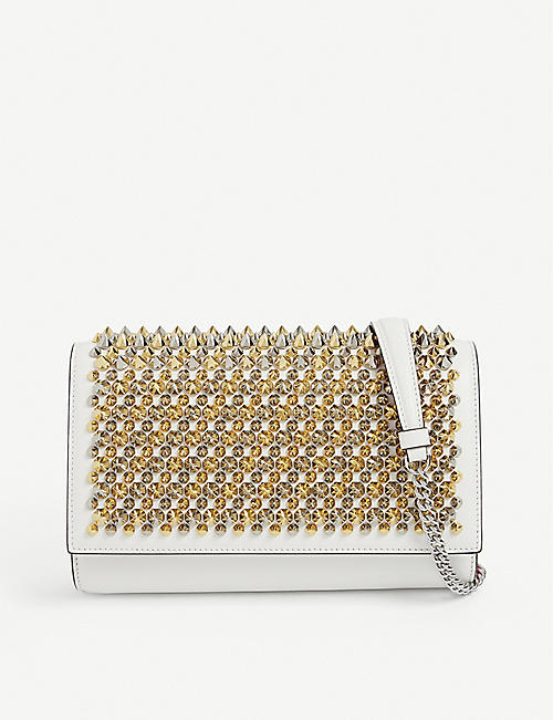 CHRISTIAN LOUBOUTIN: Paloma spike-embellished leather clutch bag