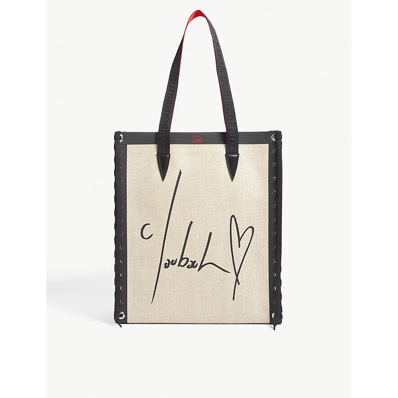 Christian Louboutin Canvases CABALACE SLOGAN-PRINT SMALL CANVAS TOTE BAG