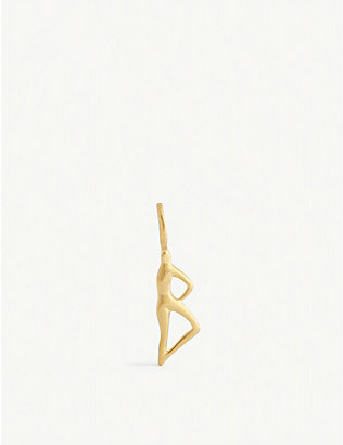 BJORG JEWELLERY: Nude Alphabet Tiny B 24ct yellow gold-plated pendant