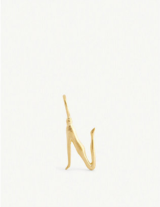 BJORG JEWELLERY: Nude Alphabet Tiny N 24ct yellow gold-plated pendant