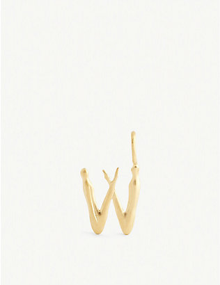 BJORG JEWELLERY: Nude Alphabet Tiny W 24ct yellow gold-plated pendant