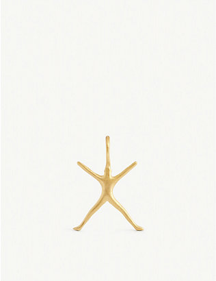 BJORG JEWELLERY: Nude Alphabet Tiny X 24ct yellow gold-plated pendant