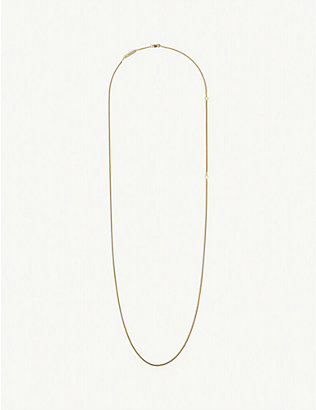 BJORG JEWELLERY: Diamond-cut long 24ct yellow gold-plated necklace