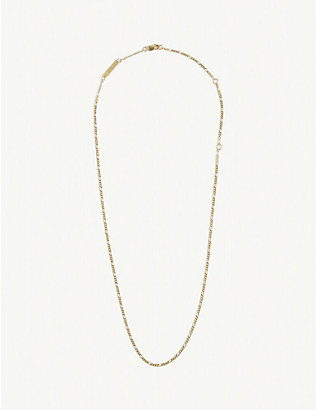 BJORG JEWELLERY: Figaro 24ct gold-plated chain necklace