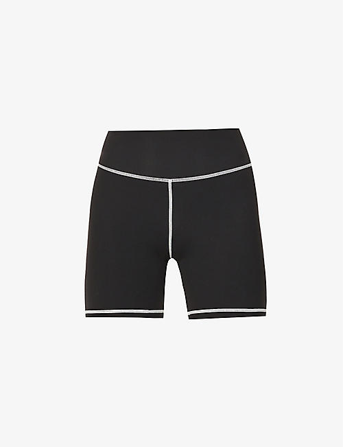 WEWOREWHAT: Contrast-stitch high-waist stretch-jersey shorts