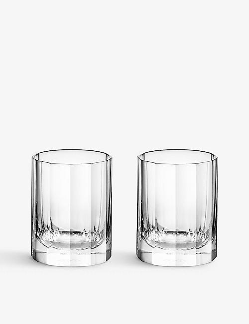 RICHARD BRENDON: Fluted crystal shot glasses set of two