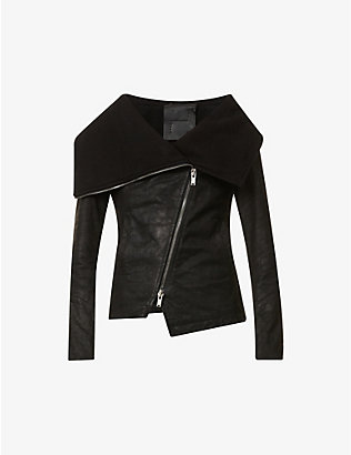 10SEIOTTO: Crater funnel-neck leather jacket