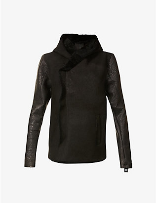 10SEIOTTO: Hooded shearling-trim leather jacket