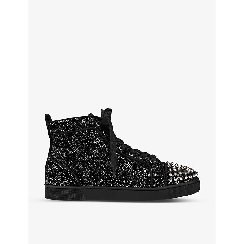 Christian Louboutin Leathers LOU SPIKES ORLATO FLAT SUEDE COSMOS CALF