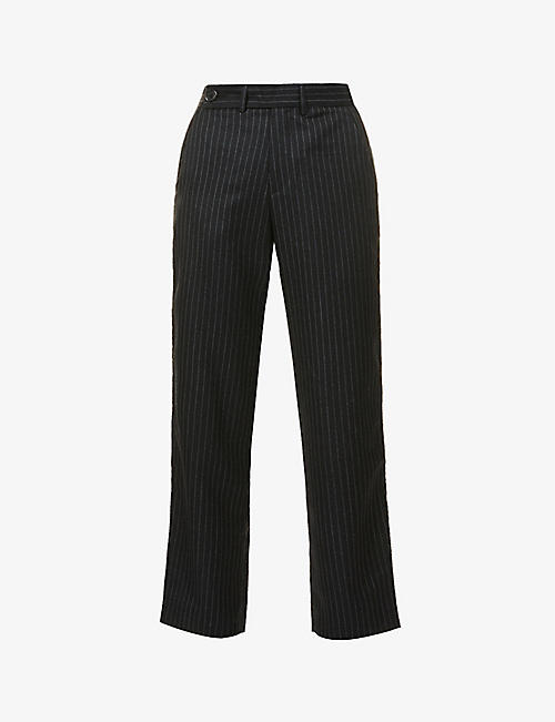 ESTER KUBISZ: Pinstripe wide-leg high-rise wool trousers