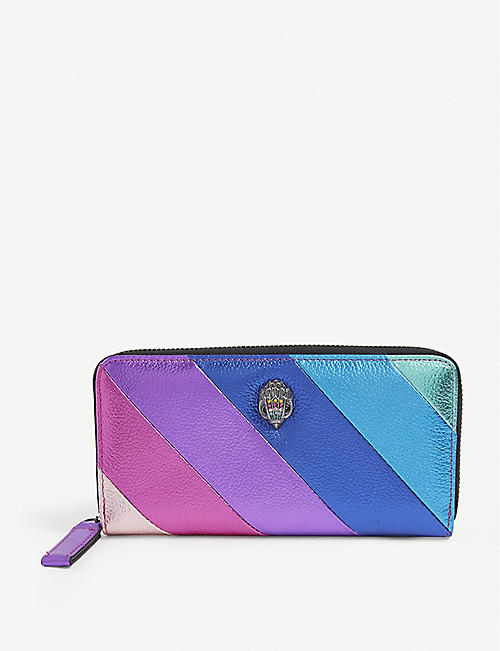 KURT GEIGER LONDON: Rainbow eagle-motif leather wallet