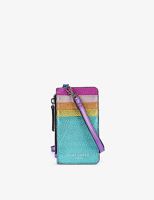 KURT GEIGER LONDON: Rainbow leather card wallet with strap