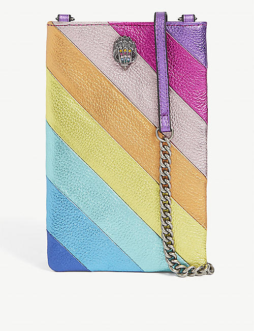 KURT GEIGER LONDON: Rainbow cross-body leather phone bag