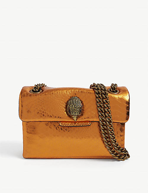 KURT GEIGER LONDON: Kensington snake-embossed leather bag