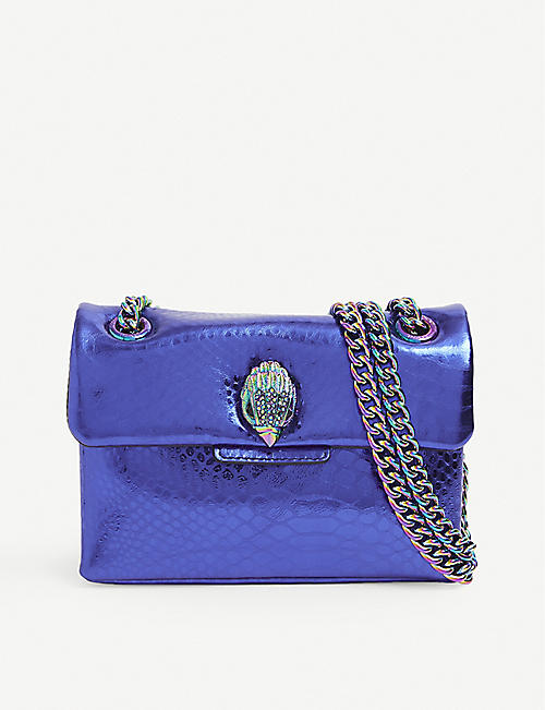 KURT GEIGER LONDON: Kensington mini snake-embossed metallic leather shoulder bag