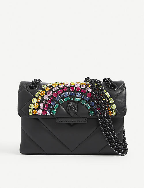 KURT GEIGER LONDON: Shoreditch crystal-embellished leather shoulder bag