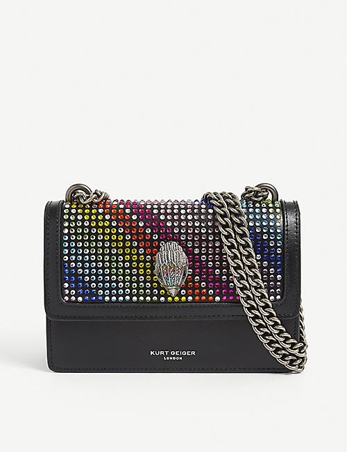 KURT GEIGER LONDON: Shoreditch rainbow-crystal leather shoulder bag