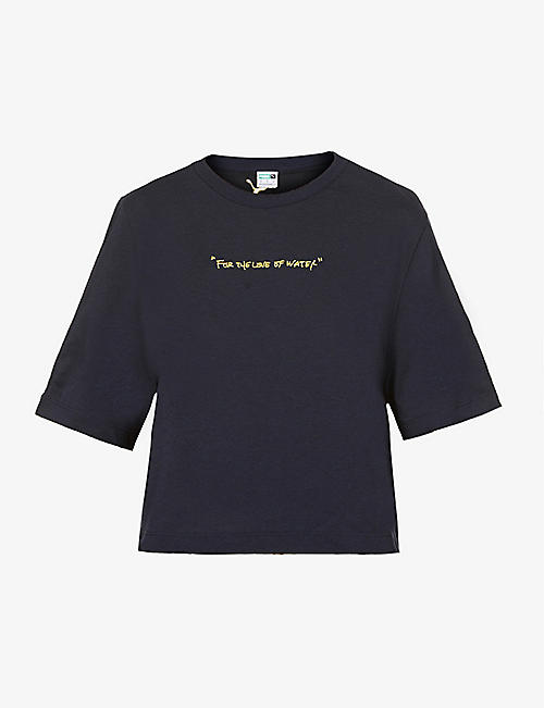 PUMA: Puma x Central Saint Martins embroidered cotton-blend T-shirt