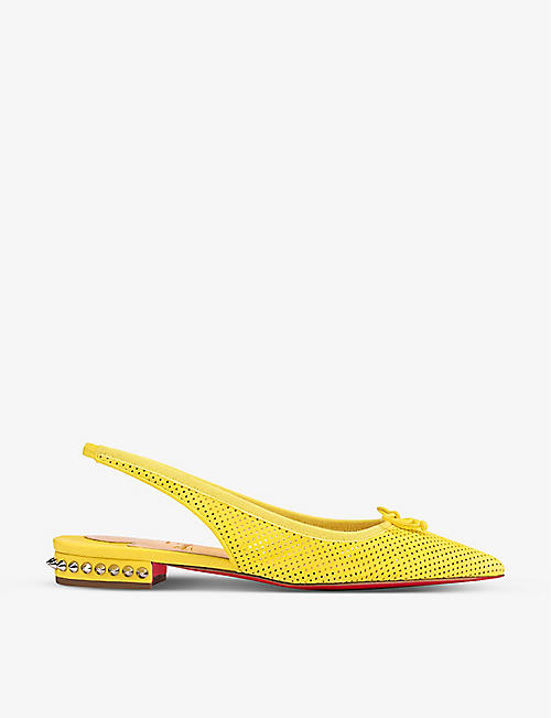 CHRISTIAN LOUBOUTIN: Hall sling flat suede perf nappa gg vers