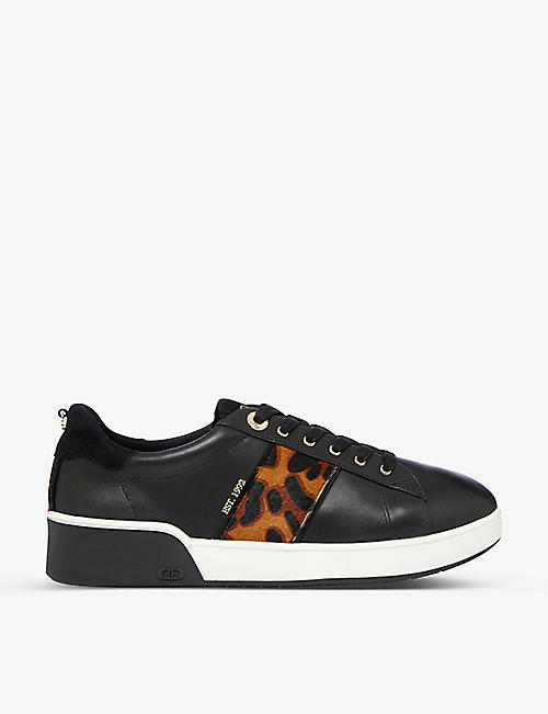DUNE: Eden leopard-print detail leather trainers
