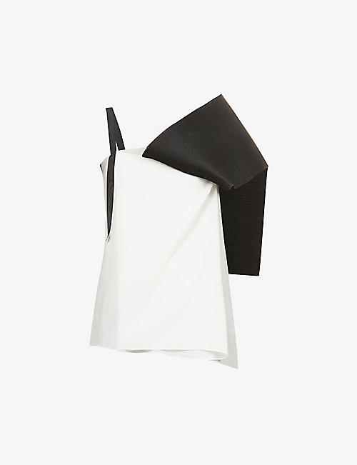OMER ASIM: Asymmetric-neckline pleated silk top