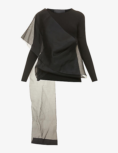 OMER ASIM: Wrap-over semi-sheer jersey and silk top