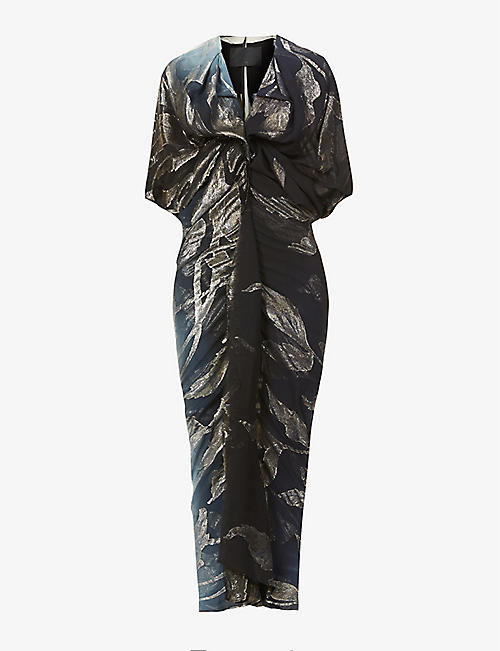 OMER ASIM: Toub abstract-print silk-blend maxi dress