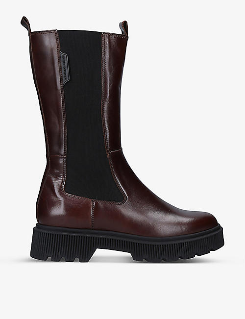 KURT GEIGER LONDON: Stint leather knee-high platform boots