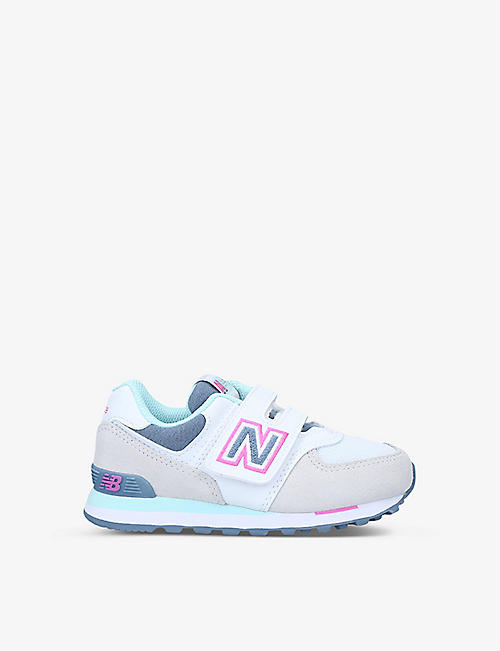 NEW BALANCE: 574 V1 NLH low-top suede and mesh trainers 6-9 years