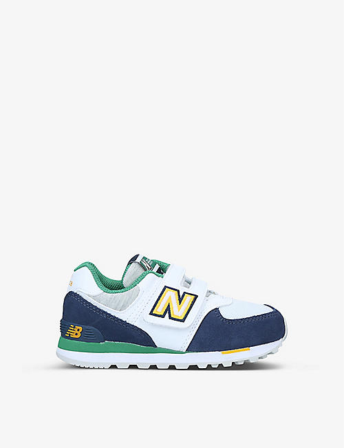 NEW BALANCE: 574 suede and textile trainers 6-9 years
