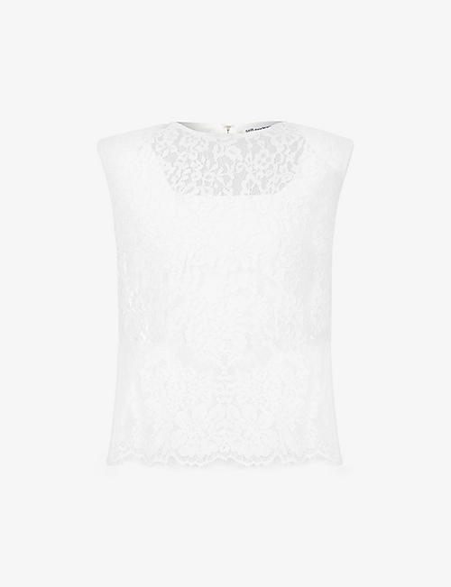 SELF-PORTRAIT: Sleeveless floral-pattern lace top