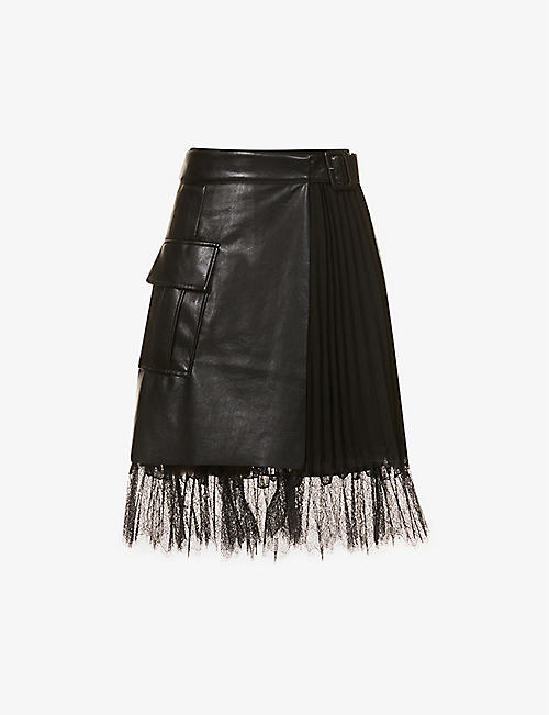 SELF-PORTRAIT: Pleated-panel high-waist faux-leather mini skirt