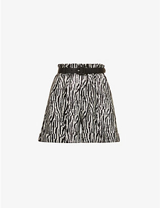 SELF-PORTRAIT: Zebra-print sequin-embellished high-rise woven shorts