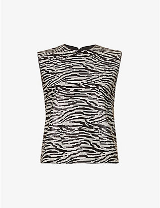 SELF-PORTRAIT: Zebra-print sequin-embellished sleeveless woven top