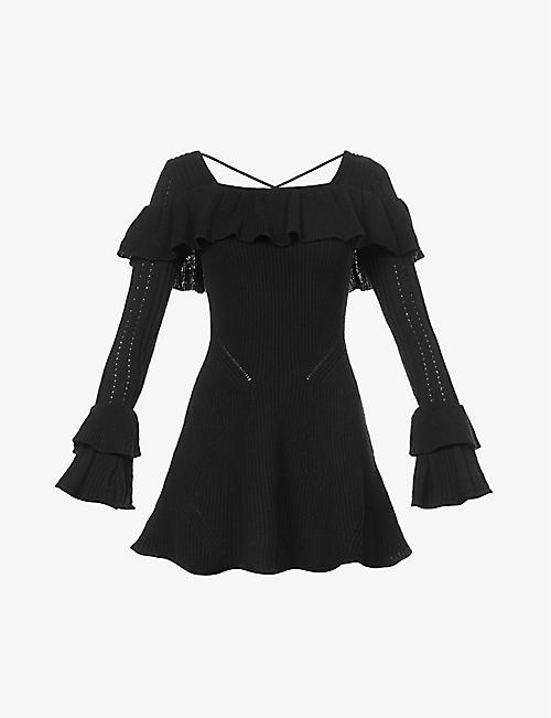 SELF-PORTRAIT: Square-neck frill-trim cotton-blend knitted mini dress
