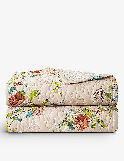 YVES DELORME: Bagatelle floral-print organic cotton-sateen bed cover