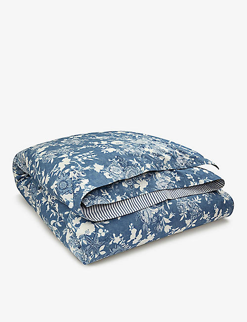 RALPH LAUREN HOME: Indigo Cottage floral-print single cotton duvet cover 200cm x 140cm