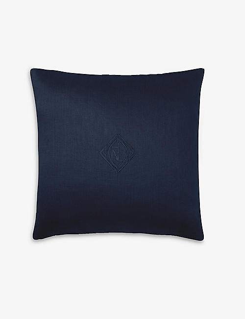RALPH LAUREN HOME: Penthouse embroidered linen cushion cover 50x50cm