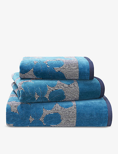 OLIVER DESFORGES: Grande Serre abstract-pattern cotton guest towel 42x60cm
