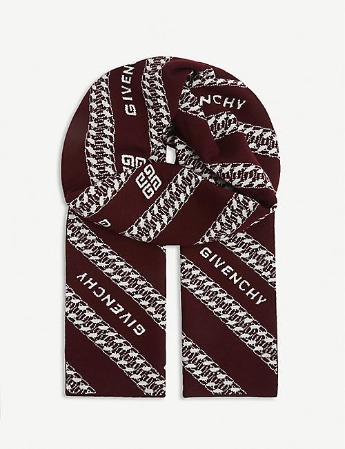 GIVENCHY: Logo and chain-print wool scarf