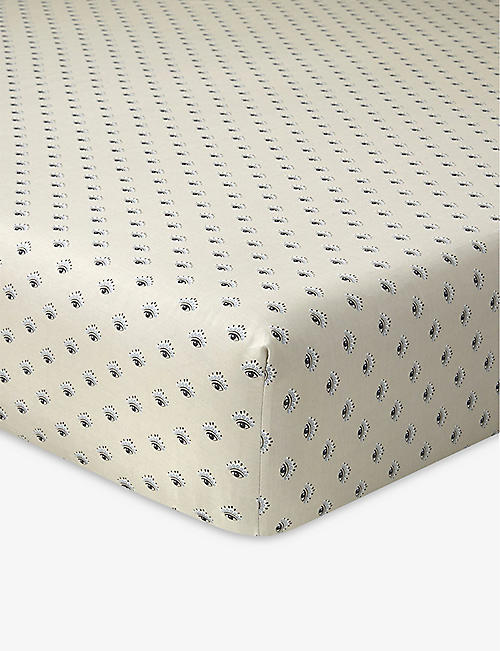 KENZO: K Eclipse cotton-sateen fitted sheet