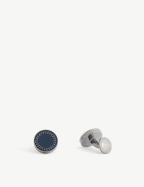 TATEOSSIAN: Rhodium chain-detail gunmetal-plated brass cufflinks