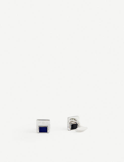 TATEOSSIAN: Onyx and blue enamel-detail sterling silver cufflinks