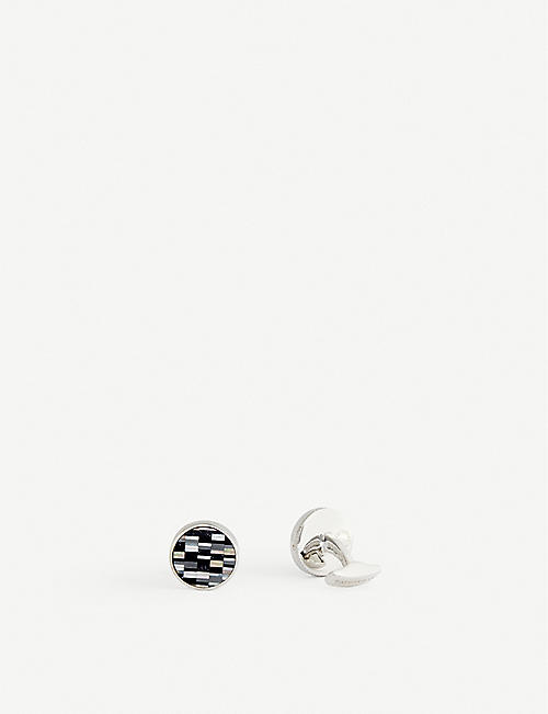 TATEOSSIAN: Bamboo rhodium and sterling silver cufflinks