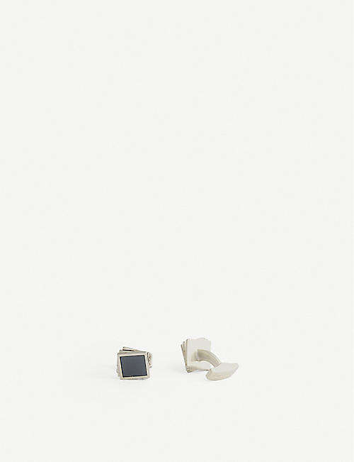 TATEOSSIAN: Twisted Square hematite and sterling silver cufflinks