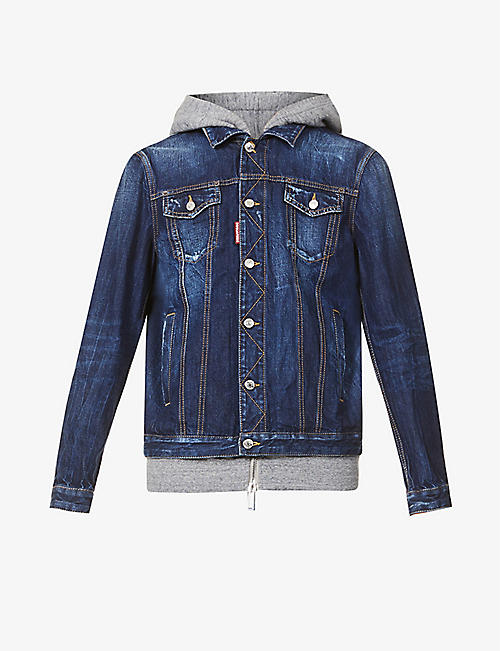 DSQUARED2: Icon hooded brand-print denim jacket
