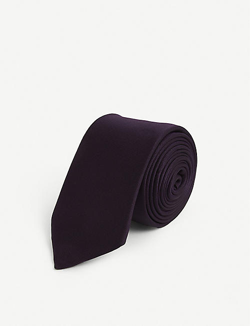 GIVENCHY: Brand-embroidered ribbed-weave silk tie