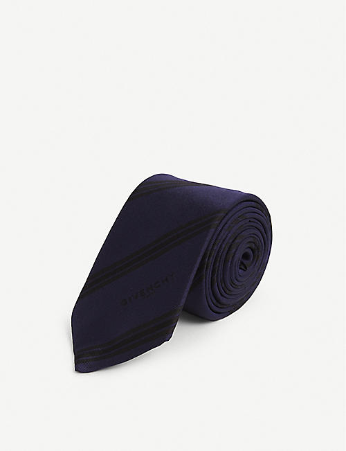 GIVENCHY: Diagonal-stripe ribbed-weave silk tie