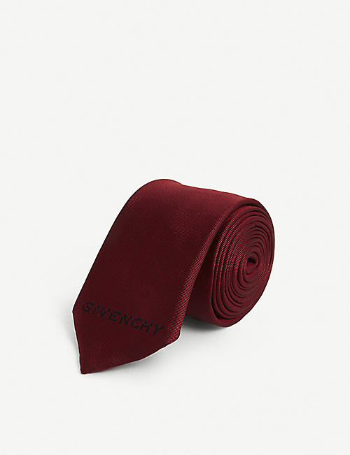 GIVENCHY: Logo-embroidered silk tie