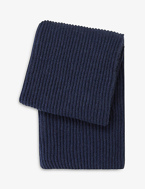 BOSS: Zealand ribbed knitted throw 139x170cm
